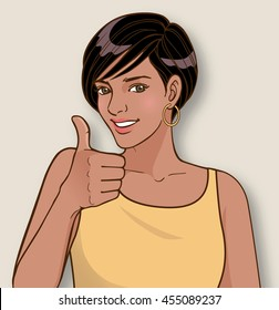 Attractive young woman in casual attire giving a thumbs up
