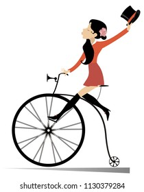 Attractive young woman holds a top hat in the hand rides a vintage bike isolated on white illustration vector