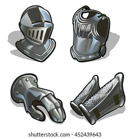 The attributes and elements of the protective suit of a medieval knight. Steel armor isolated on white background. Vector cartoon close-up illustration.