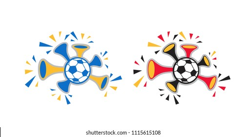 Attributes football fans. Vuvuzela trumpet football fan, ball. Element for packaging design, brochures, booklets, tags. Vector illustration