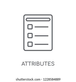 Attributes linear icon. Modern outline Attributes logo concept on white background from Technology collection. Suitable for use on web apps, mobile apps and print media.