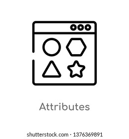 attributes vector line icon. Simple element illustration. attributes outline icon from technology concept. Can be used for web and mobile
