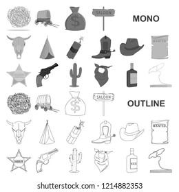 Attributes of the wild west monochrom icons in set collection for design.Texas and America vector symbol stock web illustration.