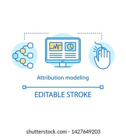 Attribution modeling concept icon. Digital marketing benefit idea thin line illustration. Web analytics, marketing activity, touchpoints. Vector isolated outline drawing. Editable stroke