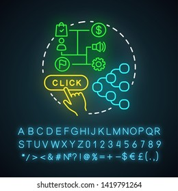 Attribution modeling neon light icon. Digital marketing benefit. Web analytics, marketing activity, touchpoints. Glowing sign with alphabet, numbers and symbols. Vector isolated illustration