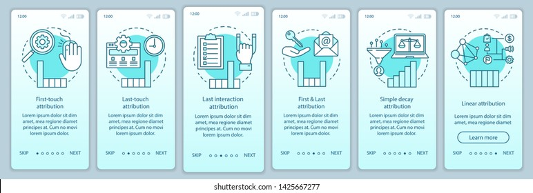 Attribution modeling types turquoise onboarding mobile app page screen vector template. Diagrams, charts walkthrough website steps with linear illustrations. UX, UI, GUI smartphone interface concept