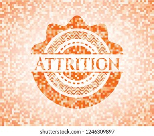 Attrition abstract emblem, orange mosaic background