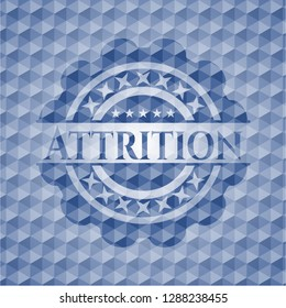 Attrition blue badge with geometric pattern background.