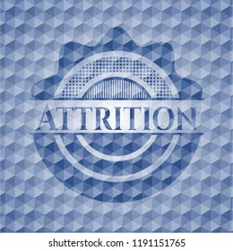 Attrition blue emblem or badge with abstract geometric pattern background.