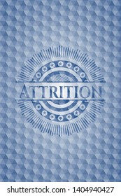 Attrition blue polygonal badge. Vector Illustration. Detailed.
