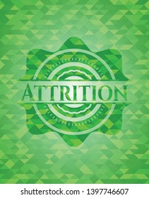 Attrition green emblem with mosaic ecological style background. Vector Illustration. Detailed.