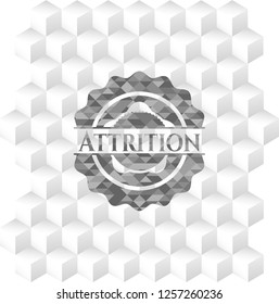 Attrition grey badge with geometric cube white background