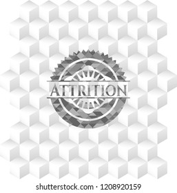 Attrition grey emblem. Retro with geometric cube white background