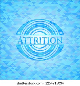 Attrition light blue emblem with mosaic background