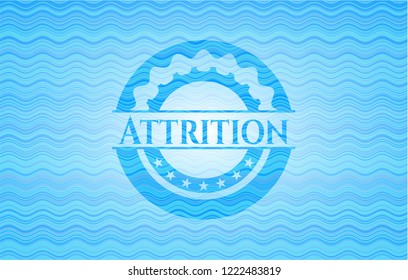 Attrition light blue water emblem background.
