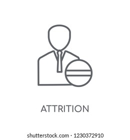 Attrition linear icon. Modern outline Attrition logo concept on white background from Human Resources collection. Suitable for use on web apps, mobile apps and print media.