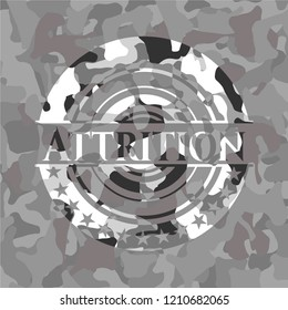 Attrition on grey camouflage pattern
