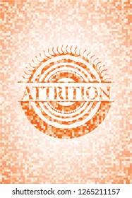 Attrition orange tile background illustration. Square geometric mosaic seamless pattern with emblem inside.