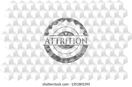 Attrition realistic grey emblem with cube white background