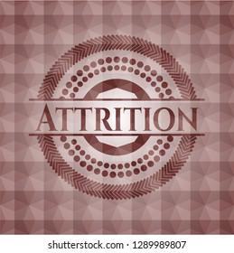 Attrition red geometric emblem. Seamless.