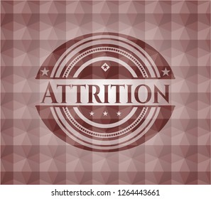 Attrition red seamless emblem or badge with abstract geometric pattern background.