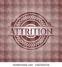 Attrition red seamless polygonal badge.