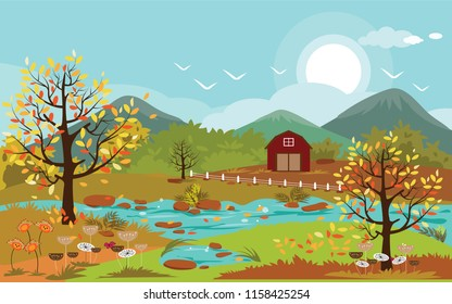 Atumn landscape of countryside, Vector illustration of horizontal of autumn landscape mountains, river and farm with leaves falling from trees in yellow foliage.