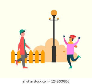 Atumn meeting friends. Girl in pink sweater and in warm color hat. Boy in red jacket and green cap near brush and lantern with fence vector illustration