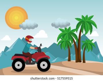 atv driver man beach mountain background