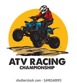 ATV Extreme sport racing, good for tshirt design and championship event logo