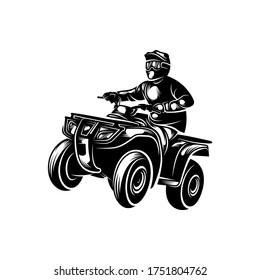 ATV logo vector, Quad bike competition logo vector illustration, Silhouette design