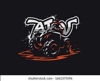 ATV vehicle logo on dark background. All-terrain off-road 4x4 quad illustration.