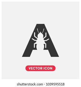 """A""Typographic Ant Vector Icon Illustration"