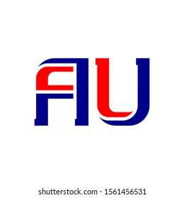 AU - abbreviation of Australia. Icon or logotype template. A and U - initials or logo.