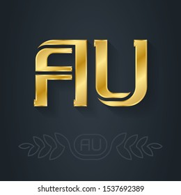 AU - abbreviation of Australia. Metallic 3d icon or logotype template. Luxury Design element with lineart option. Gold. A and U initial golden logo.