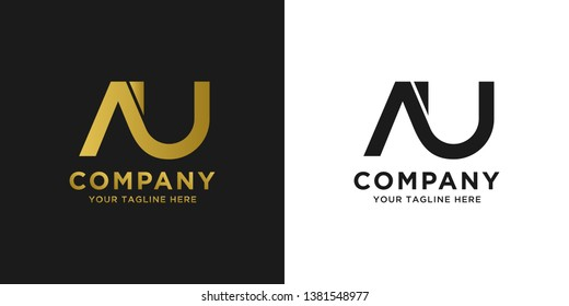 AU elegant logo template in gold color, vector file .eps 10, text and color is easy to edit
