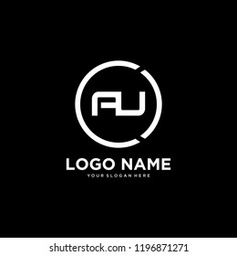 AU initial letters looping circle elegant logo