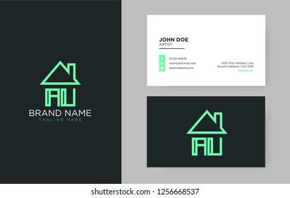 AU Letter Real Estate Logo Design - Real estate logo.