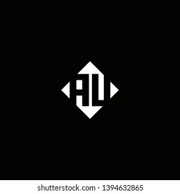 AU Logo Capital Modern of Negative Space Square Designs Template with Black Background