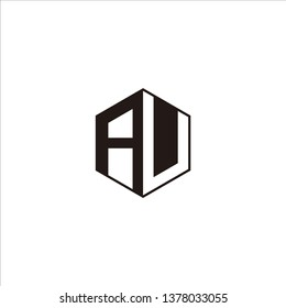 AU Logo Initial Monogram Negative Space Designs Templete with Black color and White Background