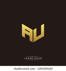 AU Logo Letter Initial Logo Designs Templete with Gold and Black Background