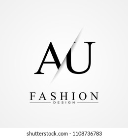 AU A U cutting and linked letter logo icon with paper cut in the middle. Creative monogram logo design. Fashion icon design template.