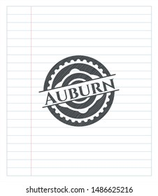 Auburn emblem drawn in pencil. Vector Illustration. Detailed.