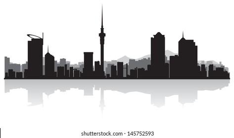 Auckland city skyline silhouette vector illustration