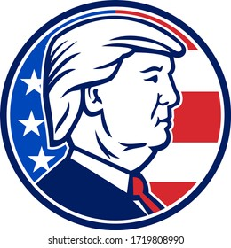AUCKLAND, NEW ZEALAND, May 2, 2020: Mascot illustration of American presidential candidate for 2020 US election, Republican Donald J Trump set in circle on isolated background done in retro style.