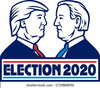 AUCKLAND, NEW ZEALAND, May 2, 2020: Mascot illustration of American presidential candidate for 2020 US election, Republican Donald Trump and Democrat Joe Biden on isolated background in retro style.