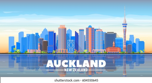 Auckland ( New Zealand ) skyline with panorama in sky background. Vector Illustration. Business travel and tourism concept with modern buildings. Image for presentation, banner, web site.
