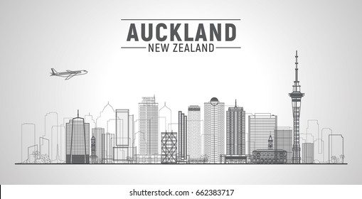 Auckland ( New Zealand ) skyline with panorama in white background. Vector Illustration. Business travel and tourism concept with modern buildings. Image for presentation, banner, web site.