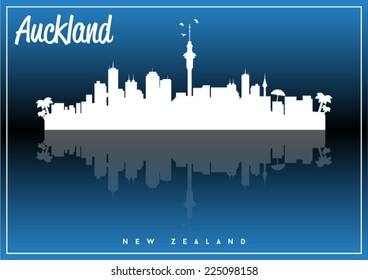 Auckland, New Zealand skyline silhouette vector design on parliament blue and black background.