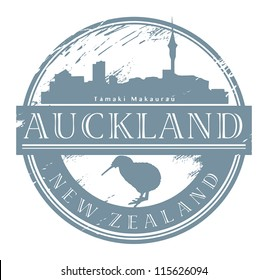 Auckland, New Zealand stamp, vector illustration